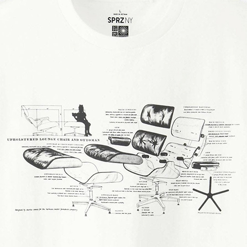 Nice diagram of the classic Eames Lounger + Ottoman blown apart for the Uniqlo x MoMA SPRZ NY Eames t-shirt.