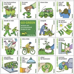 Go Green stamps from USPS, 16 ways to help the planet!