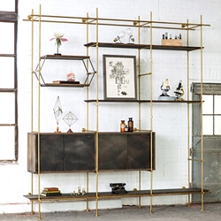 Machined brass shelving system designed by Amuneal Manufacturing.