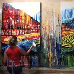 Amy Shackleton creating an urban landscape painting without a paintbrush.