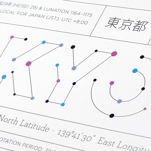 """""""Tokyo's Anaptár is an incredibly detailed, site-specific poster that not only chronicles the standard annual days and dates, but also takes viewers straight to space with all kinds of astronomical data. It's a sun- and moon-stravaganza."""""""