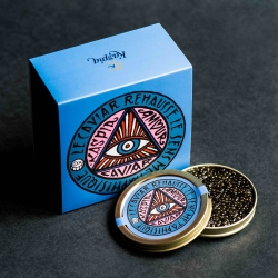 Caviar Kaspia commissioned graffiti artist Andre Saraiva to create a colorful limited edition box label inspired by the look of a magic box to 'access to a world beyond reality'.