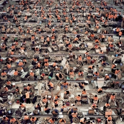 Andreas Gursky is a German photographer best known for his massive architectural and perspective photographs. He uses extremely wide, panoramic-like angles to create an overwhelming sense of presence and space.