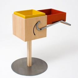 During a collaborative workshop organized by Dutch furniture company Arco, Andrew Haythornthwaite created 'autoboxes.' taking mechanical cues from the children's toy jack-in-the-box and some impressive design-skills.