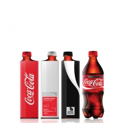 A very cool concept from industrial design student Andrew Kim for square coke bottles. Not only is the simplified branding fantastic, the square bottle is beautiful, and clever use of space.