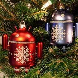 This year's Android Mini Special Edition Holiday Ornaments in blue and red from Dead Zebra.