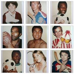 "Danzinger Projects presents ""Greatness"", Andy Warhol's Polaroids of Sports Champions. - these are the photographs used to create the sports portraits stolen earlier this year. Weird!"