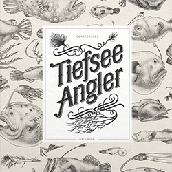 "Jared Muralt (Blackyard) - Ceratioidei/Tiefseeangler ""Deep Sea Angler Fishes"" Book. He drew an angler fish every morning and over 100 have been accumulated in this book."