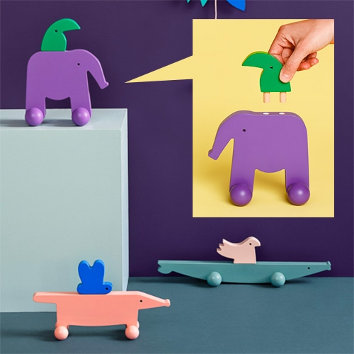 Kumi Mood - beautifully simple, painted wooden animal pull toys (with little creatures riding on the backs of the larger ones thanks to dowels!)
