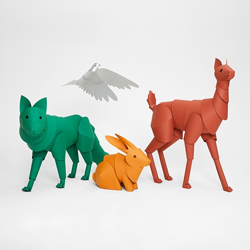 Life size paper animals by Heavy Eyes for Theory Holiday Windows!