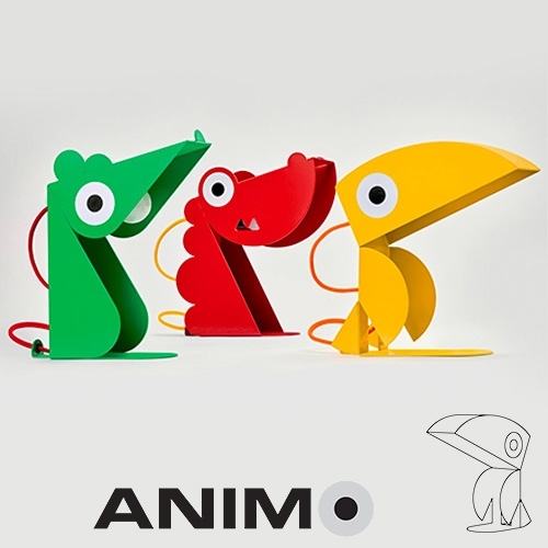 Bleu Carmin Design Collection Animo Lights - Toucan, Dragon, Parrot, and Mouse in bold, colorful powder coated sheet metal.