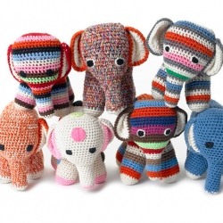 Colorful, handmade, knitted toys from dutch designer Anne-Claire Petit. The toys are made by Asian women in their homes, a way to generate an income throughout most of the year - something from which the entire village benefits.