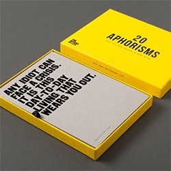 A bright yellow boxed set of 20 Aphorisms from The School Of Life! (Just like those i once found on my pillow at Morgan's Hotel...)