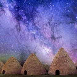 Historic kilns from the 1870s in Nevada underneath the Milky Way.