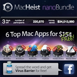 MacHeist is offering a nanoBundle ~ for FREE! Amazing fun mac apps for the sharing ~ only 3 days left!
