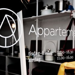 Identity, naming and store concept for Appartement—a small interior design shop in Stockholm. By Bedow Creative.