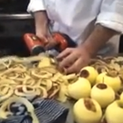 Jasper van Ramhorst, a chef in the Netherlands, peels apples with a power drill!