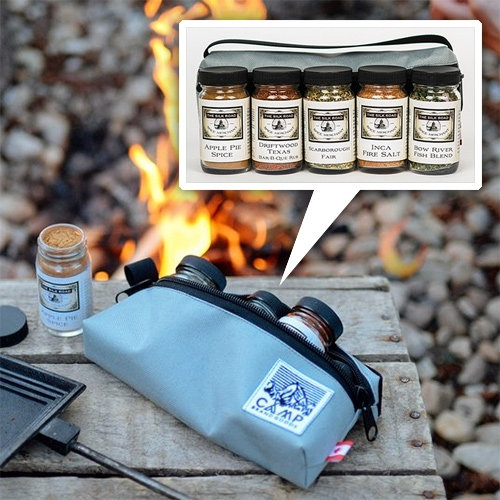 Camp Brand Goods x Silk Road Spice Merchant Backcountry Spice Kit! A special canvas case containing Inca Fire Salt, Scarborough Fair, Apple Pie Spice, as well as Driftwood Texas BBQ Rub, and Bow River Fish Blend.