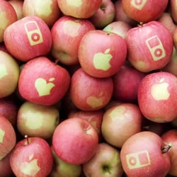 Naturally grown Fuji apples with the Apple logo on them! Delicious!
