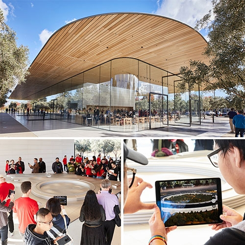 Apple Park Visitors Center in Cupertino is now open. In addition to the store and cafe, visitors can interact with the 3-D model of the campus which is brought to life by augmented reality.
