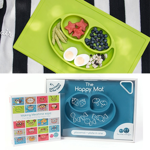 EZPZ Happy Mats, Happy Bowls, and Mini Mats. All-in-one placemat + plates made of silicone and dishwasher safe.
