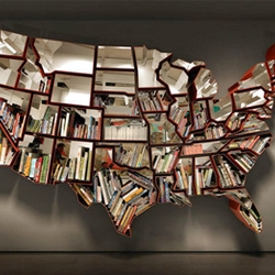 Ron Arad designed this United-States-shaped bookcase. This makes for an interesting way to unite books.