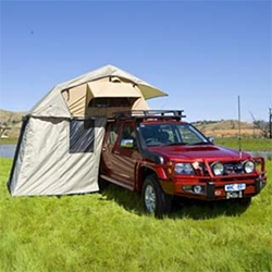 ARB Simpson III Rooftop Tent and Annex (a zip on 3 walled room against your car that you can climb down the ladder into protect from the elements!) - and there's nearly a queen sized mattress inside.