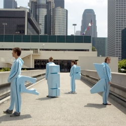 Insecure Spaces - Archisuits - An edition of four leisure jogging suits made for specific architectural structures in Los Angeles.
