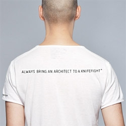 """""""Always bring an architect to a knifefight"""" t-shirt from Acronym."""