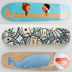 Good Wood features custom works from 80+ artists on cruiser decks up for auction. All proceeds will be donated to the Power House Productions Ride It Sculpture Park in Detroit.