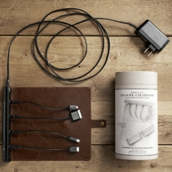 Leather roll-up travel charger