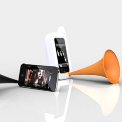 The Arkcanary II is a phonograph-style analog acoustic speaker for iPhone 4.