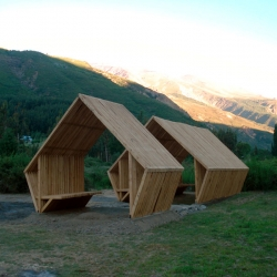 Nice shelter by architectural student Andres Miguel Lillo Coria. Located in the Region of Maule's Andes Mountains, it is in pine and is assembled in a way to allow the visitor to view the beautiful landscape.
