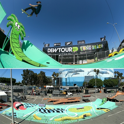 Steven Harrington designed the cutest public skatepark complete with skateable sculptures in Long Beach, CA for the Dew Tour! Constructed by California Ramp Works. Harrington created a visual aesthetic for the entire event.
