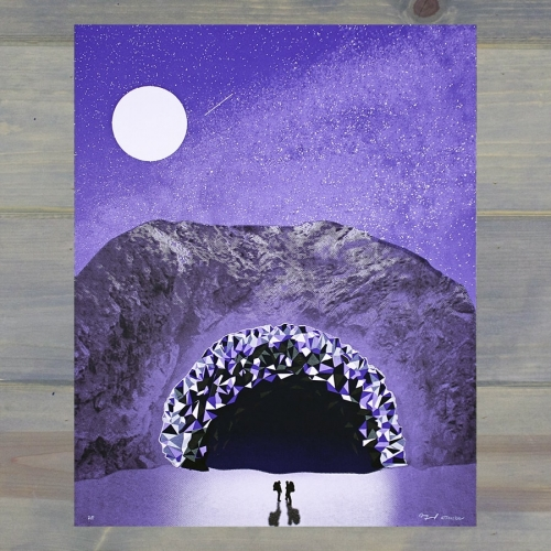 "Arsenal Handicraft - ""Geode Cave""  16"" x 20"" four color hand pulled screen print, including a transparent metallic gloss layer. Limited edition of less than 100."