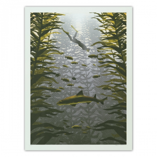 "Arsenal Handicraft - ""Kelp  Forest"" Three color hand pulled screenprint. Measures 18"" x 24"" and is of an edition of 70."