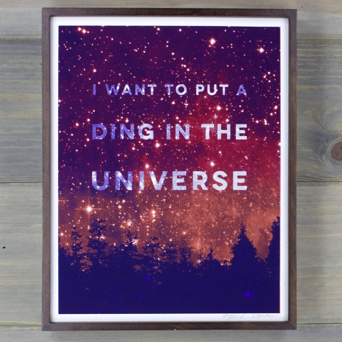 "Arsenal Handicraft - ""Ding In the Universe"" screen print. 11"" x 14"" three color hand pulled screen print."