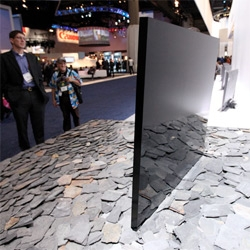 Spotted at CES ~ what IS this monolithic black mirrored screen like object on slate shards over at the Sony booth that people just stop and stare at in wonder?