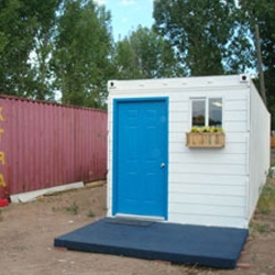 American design group PFNC Global Communities makes affordable housing out of reused shipping containers.
