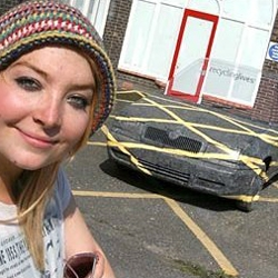 "A design student made a battered old Skoda ""disappear"" by painting it to merge with the surrounding car park."