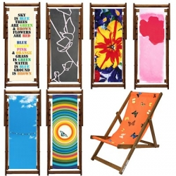 Artware editions is presenting a small selection of artist deck chairs featuring the work of Damien Hirst, Gary Hume, Sir Peter Blake, Keith Tyson, Marc Quinn, Sam McEwan and Rob and Nicky Carter.