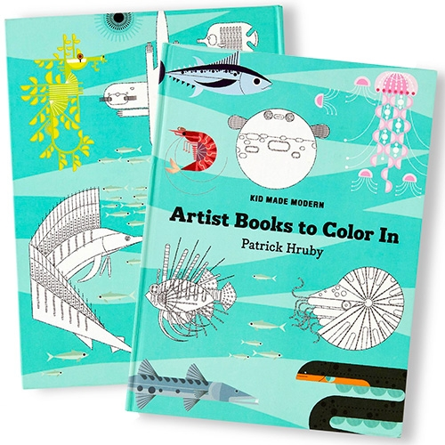 Kid Made Modern's Artist Books To Color In: Patrick Hruby - is filled with fun geometric illustrations of underwater creatures!