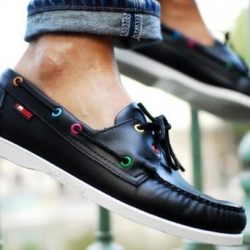 Fench creative artists form Cool Cats have teamed up with Sebago footwear to revisit the famous Dockside boat shoe. The Dockside features a premium black leather upper designed by So-Me of the Cool Cats.