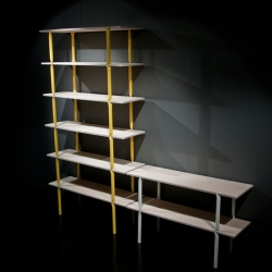 In A Pinch is shelving system consisting of flattened steel tubes and plywood shelves, by Arttu Kuisma.
