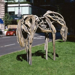 The debate for animal sculptures is on! My favorite is Deborah Butterfield. Bronzed sculptures give the illusion of driftwood.