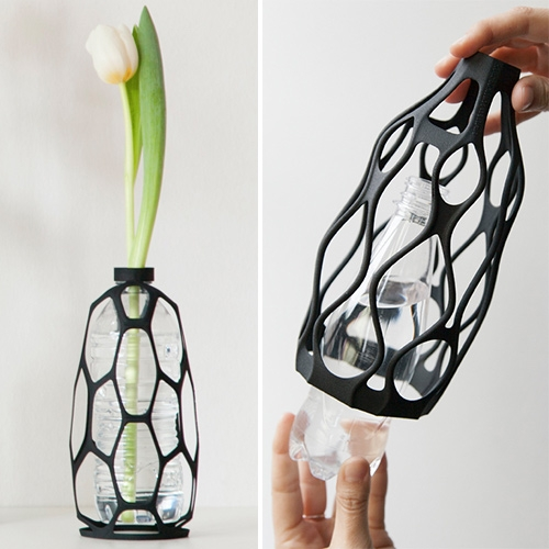 DesignLibero 3D Printed Vases Collection - they screw right to plastic bottles, upcycling them into decorative vases.