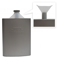 Vargo Outdoors Titanium Funnel Flask - the integrated silicone funnel makes it easy to fill, and no funnel to lose!