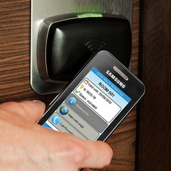Assa Abloy's technology turns your mobile into a key to check in and out / unlock hotel room's door. World's first complete mobile key service utilizing NFC (near field communication) technology.