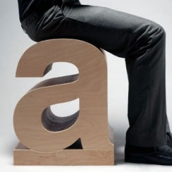 "Chris Jackson of Hastell.com designed this ""a"" stool. It's a Helvetica LT bold lower case 'a' stool."