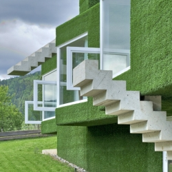 An Austrian home, covered in Astroturf, with stairs reaching to the sky! Just one example of an amazing collection modern & creative architectural stairs.